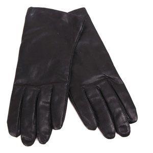 Leather Gloves Light Knit Lined Black M/L